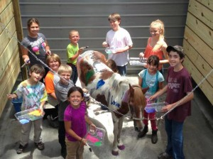 Children Participating in Activities at Horseback Riding Camp